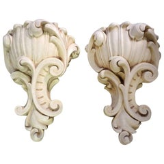 Large Pair of French Serge Roche Inspired Plaster Sconces