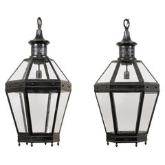 Large Pair of French Tall Lanterns, Black Metal Frames and Glass