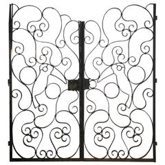 Large Pair of French Wrought Iron Gates with Toucans