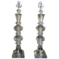 Large Pair of Geometric Cut Crystal Lamps