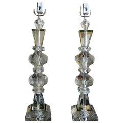 Large Pair of Geometric Cut Crystal Lamps