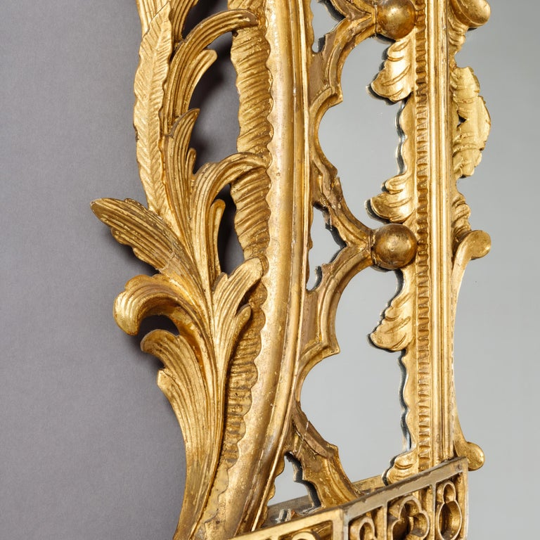 Large Pair of George II Style Carved Giltwood Mirrors or Pier Glasses For Sale 5