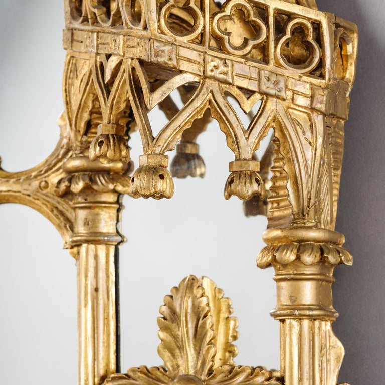 English Large Pair of George II Style Carved Giltwood Mirrors or Pier Glasses For Sale