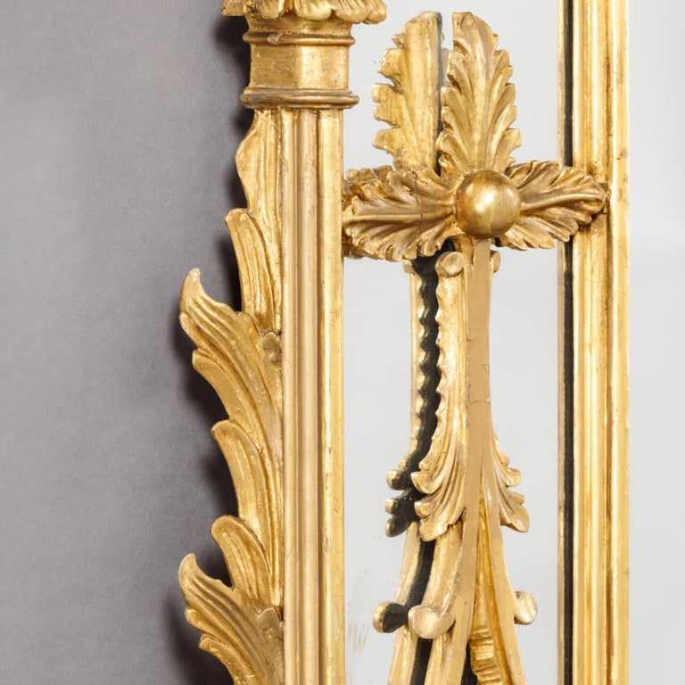 Large Pair of George II Style Carved Giltwood Mirrors or Pier Glasses For Sale 1