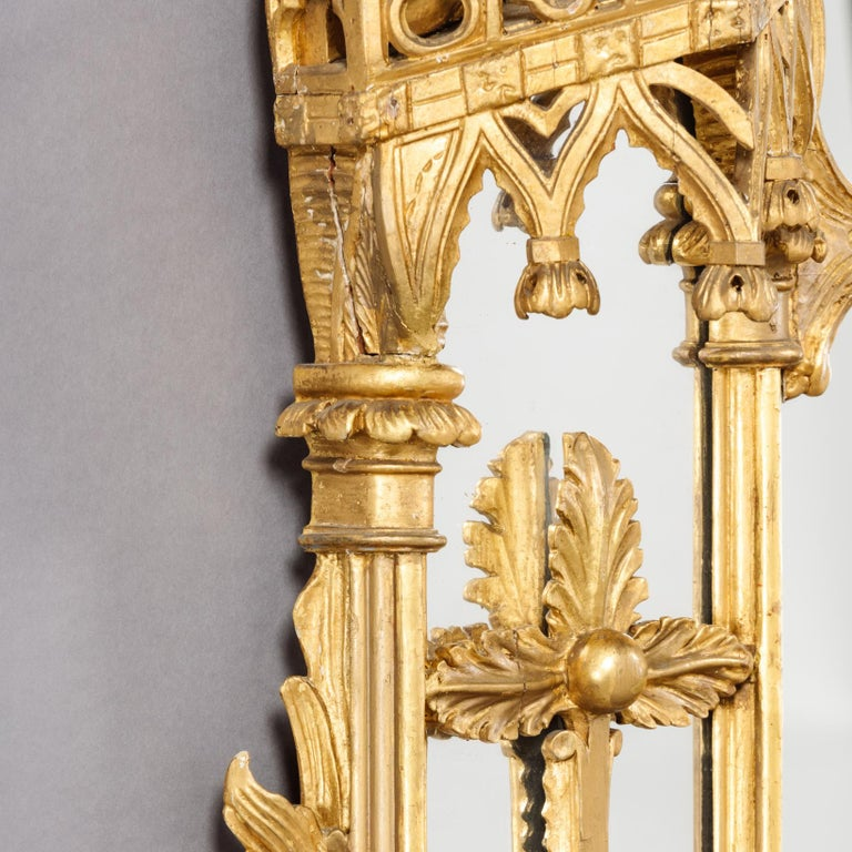 Large Pair of George II Style Carved Giltwood Mirrors or Pier Glasses For Sale 2