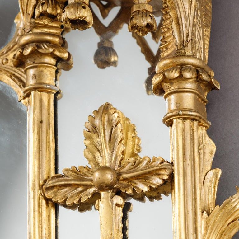 Large Pair of George II Style Carved Giltwood Mirrors or Pier Glasses For Sale 4