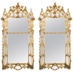 Large Pair of George II Style Carved Giltwood Mirrors or Pier Glasses