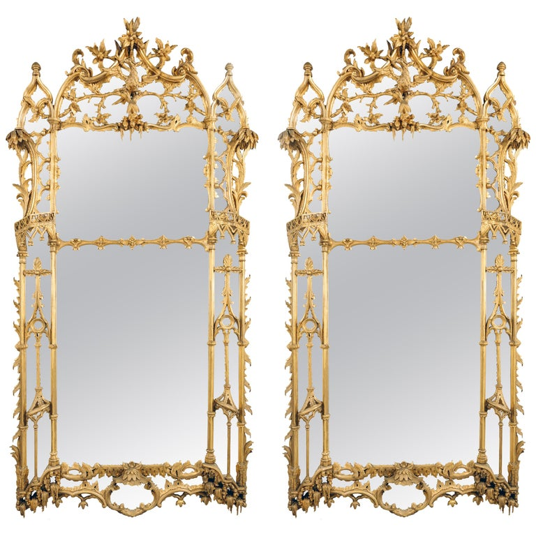 Large Pair of George II Style Carved Giltwood Mirrors or Pier Glasses For Sale