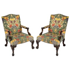Large Pair of George II Style Mahogany Gainsborough Armchairs