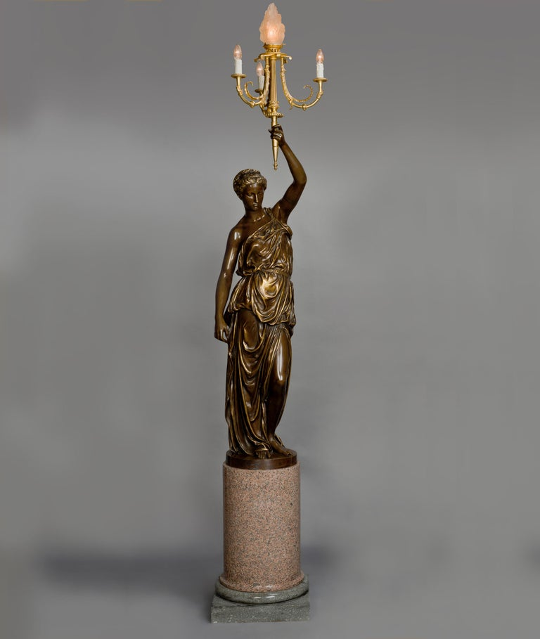 19th Century Large Pair of Gilt and Patinated Bronze Figural Candelabra, Cast by Barbedienne For Sale