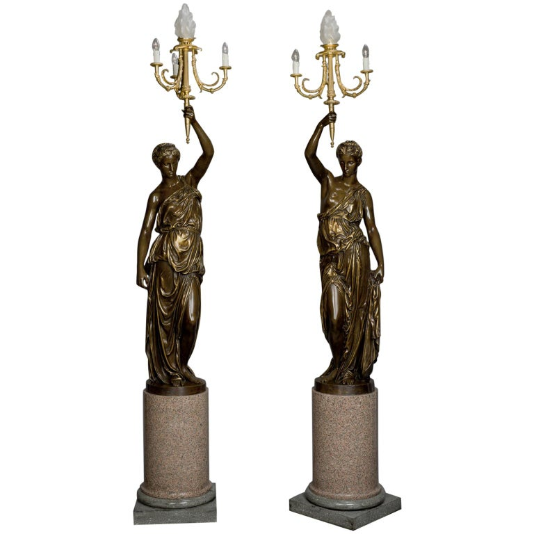 Large Pair of Gilt and Patinated Bronze Figural Candelabra, Cast by Barbedienne For Sale