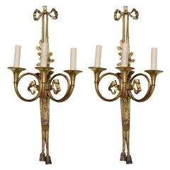 Large Pair of Gilt Brass Louis XVI Style Wall Lights, circa 1880
