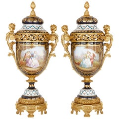 Large Pair of Gilt Bronze-Mounted Sevres Style Porcelain Vases