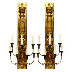 Large Pair of Gilt Metal Empire Style Sconces