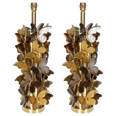 Large Pair of Gold and Bronze Metallic Murano Glass Butterfly Lamps, Italy, 2019