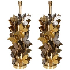 Large Pair of Gold and Bronze Metallic Murano Glass Butterfly Lamps, Italy
