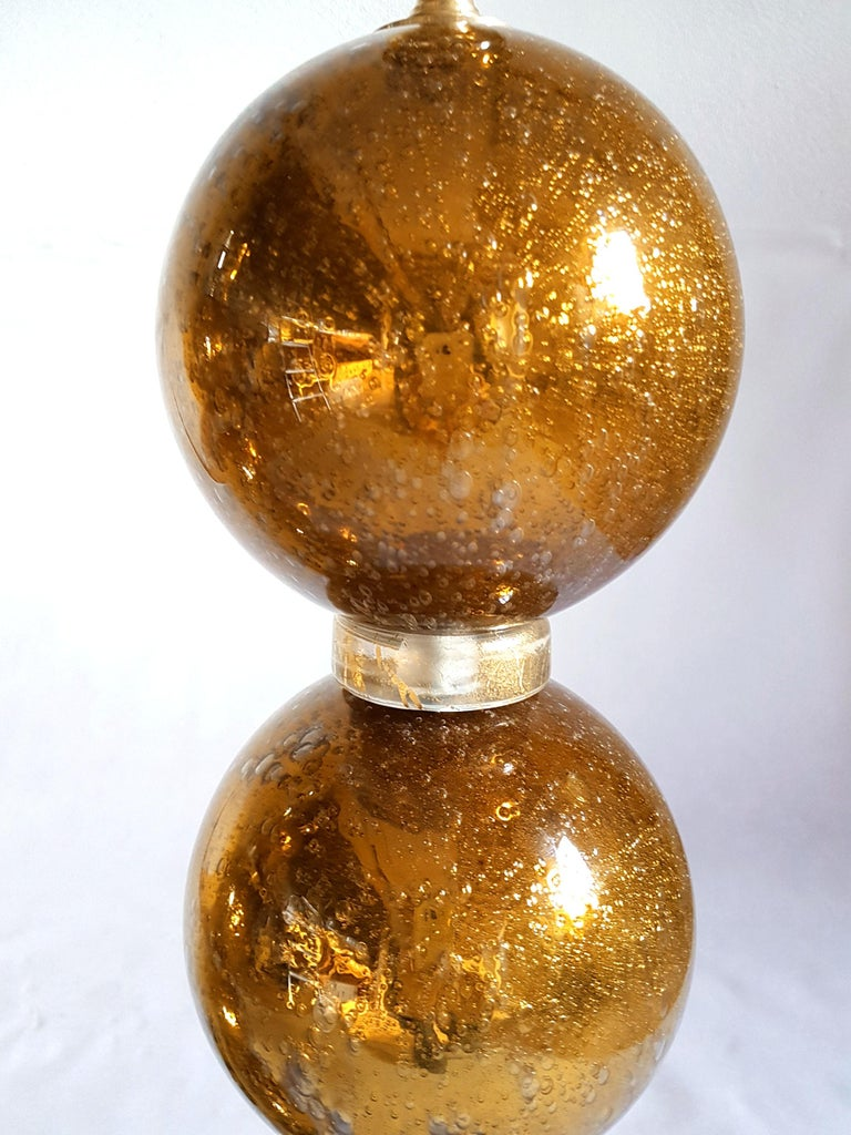 Large Pair Gold Murano Glass Table Lamps, Mid-Century Modern, Mazzega Style 1970 For Sale 3