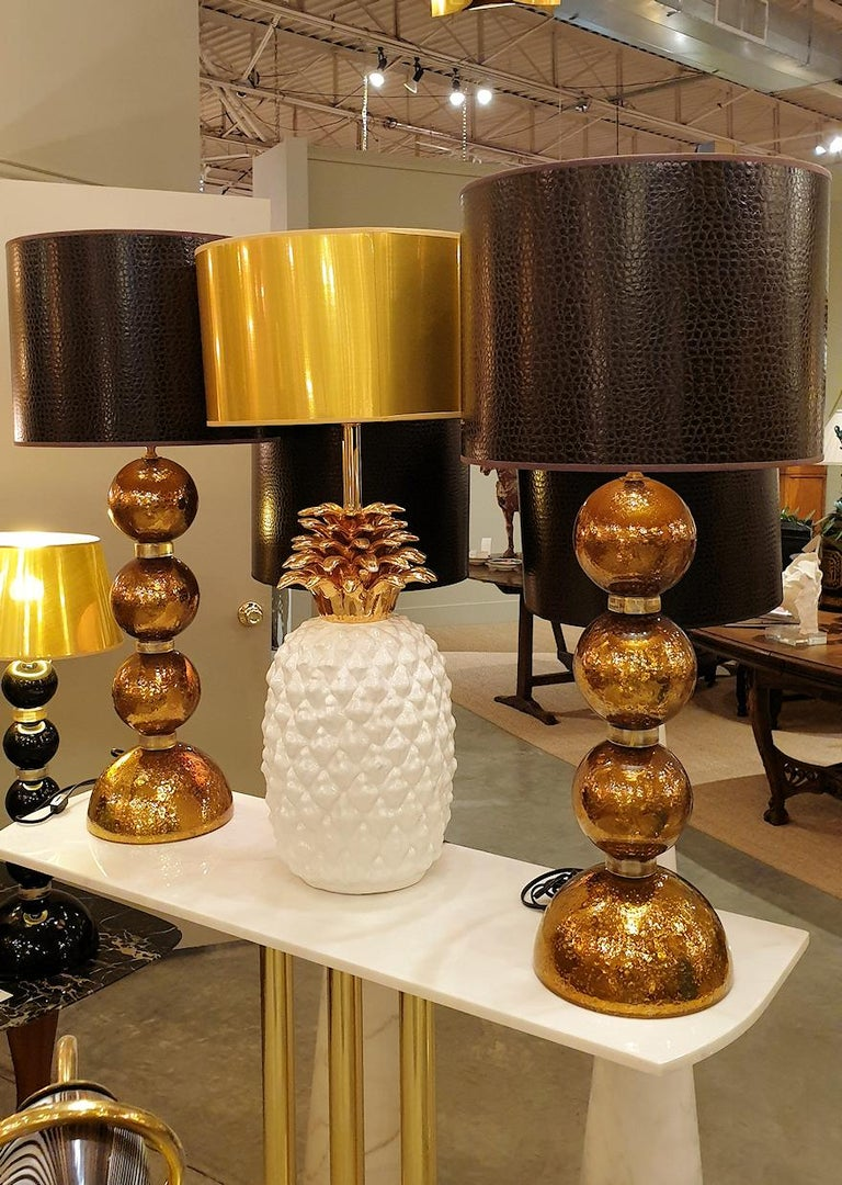 Italian Large Pair Gold Murano Glass Table Lamps, Mid-Century Modern, Mazzega Style 1970 For Sale