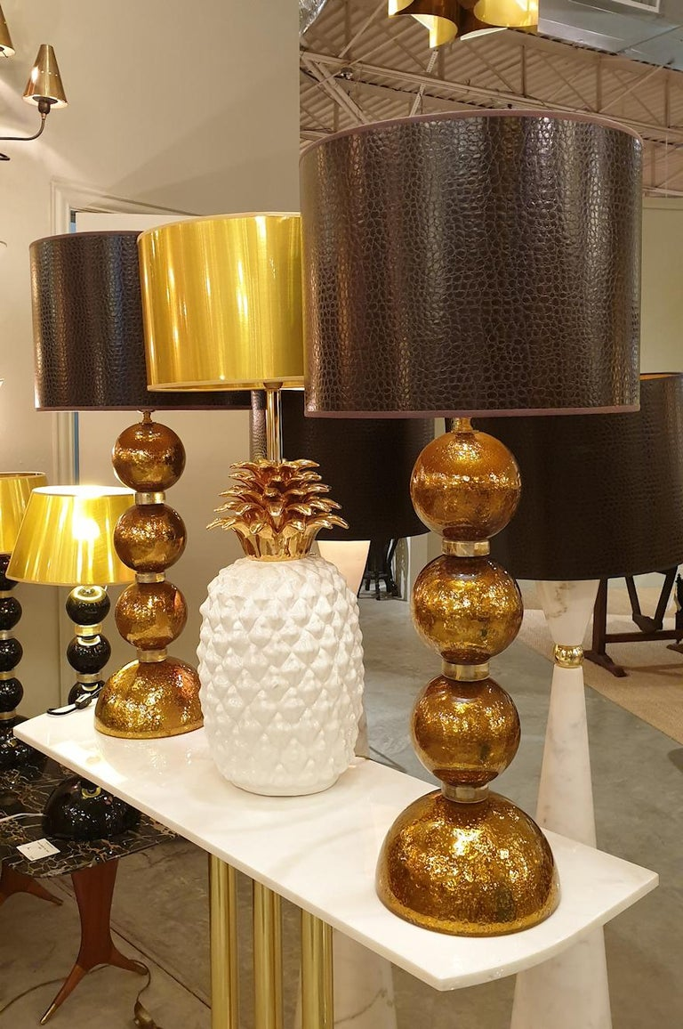 Hand-Crafted Large Pair Gold Murano Glass Table Lamps, Mid-Century Modern, Mazzega Style 1970 For Sale