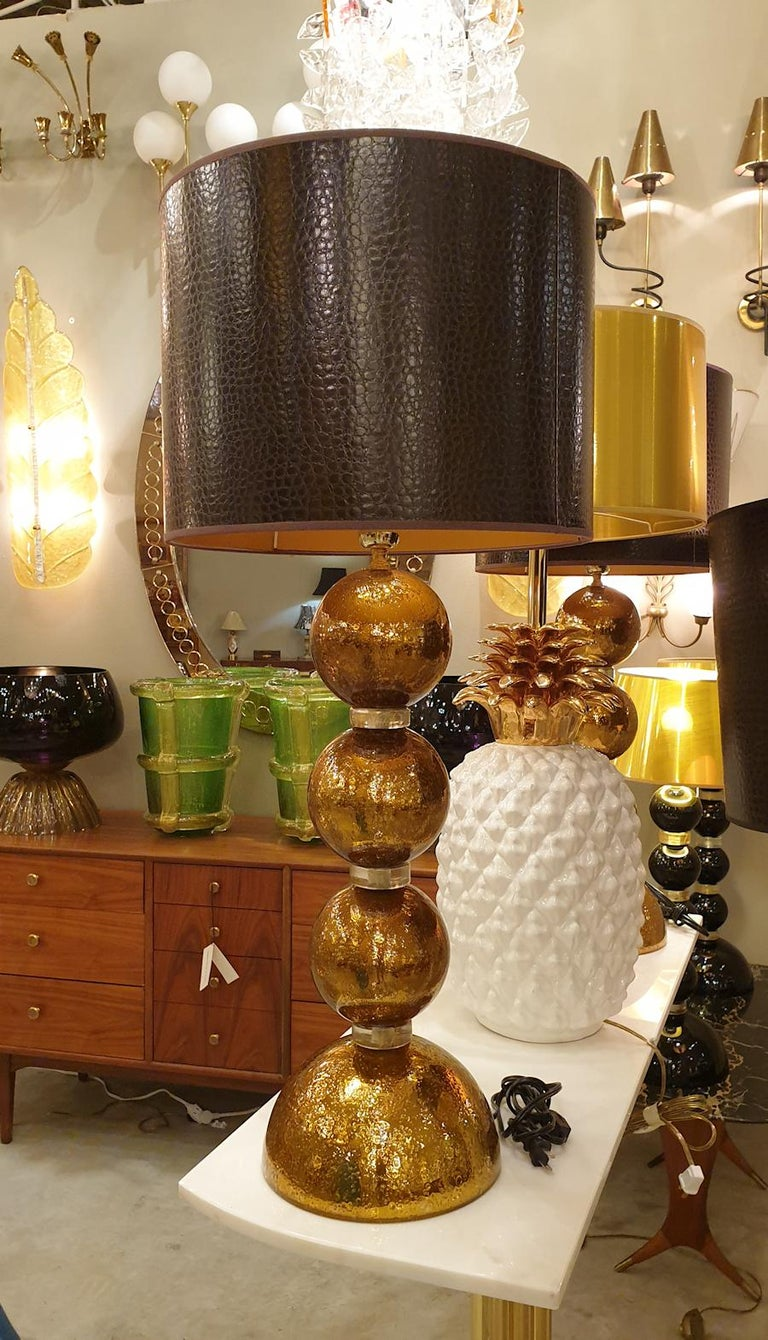 Late 20th Century Large Pair Gold Murano Glass Table Lamps, Mid-Century Modern, Mazzega Style 1970 For Sale