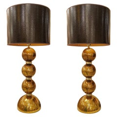 Large Pair of Gold Murano Glass Table Lamps, Mid-Century Modern, Mazzega Style