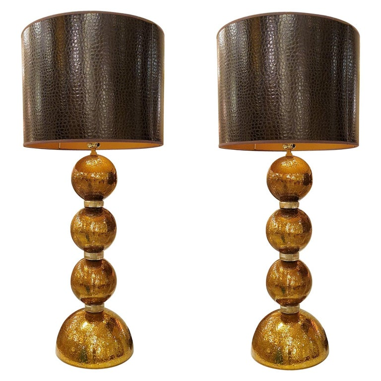 Large Pair Gold Murano Glass Table Lamps, Mid-Century Modern, Mazzega Style 1970 For Sale