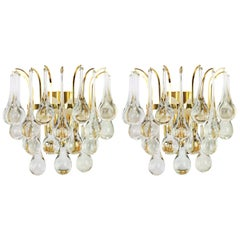 Large Pair of Golden Gilded Brass and Crystal Sconces by Palwa, Germany, 1970s