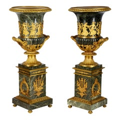 Large Pair of Grand Tour Green Marble and Ormolu Urns