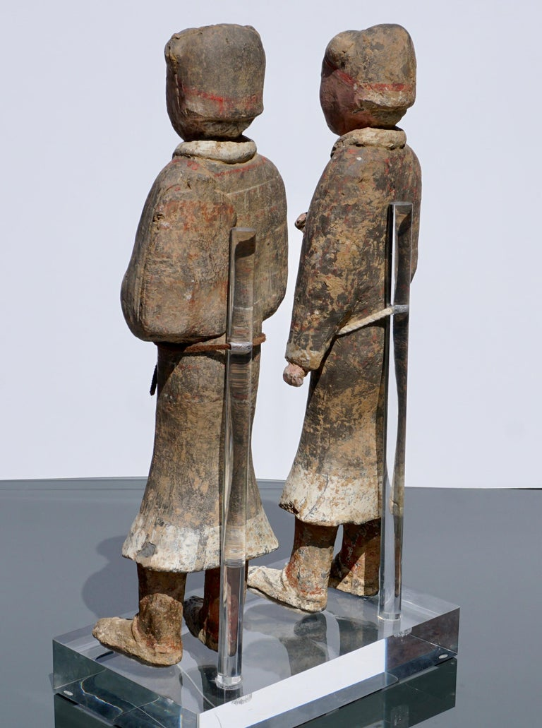 Large Pair of Han Dynasty Guardsmen Warriors '200BC-200AD' Attributed For Sale 5