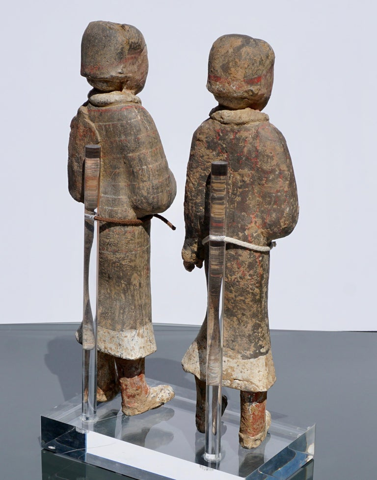 Large Pair of Han Dynasty Guardsmen Warriors '200BC-200AD' Attributed For Sale 6