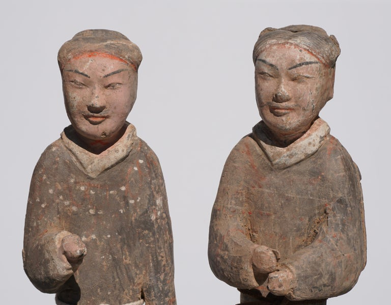 Chinese Large Pair of Han Dynasty Guardsmen Warriors '200BC-200AD' Attributed For Sale