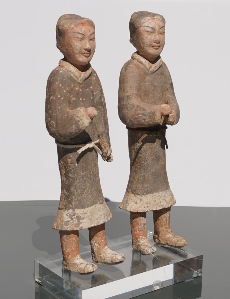 15th Century and Earlier Large Pair of Han Dynasty Guardsmen Warriors '200BC-200AD' Attributed For Sale