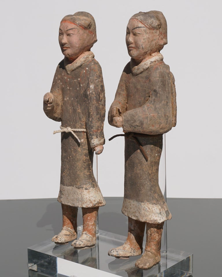 Large Pair of Han Dynasty Guardsmen Warriors '200BC-200AD' Attributed For Sale 1