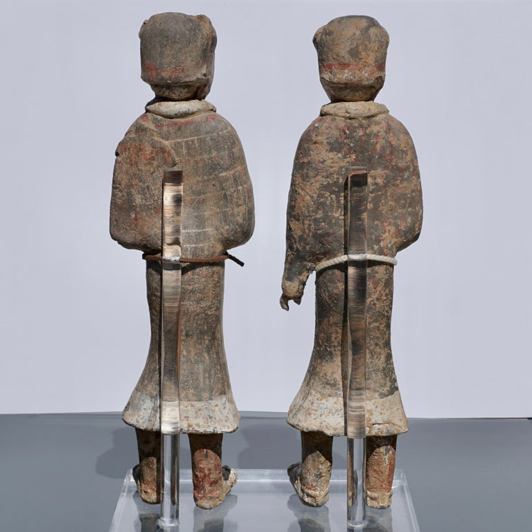 Large Pair of Han Dynasty Guardsmen Warriors '200BC-200AD' Attributed For Sale 2