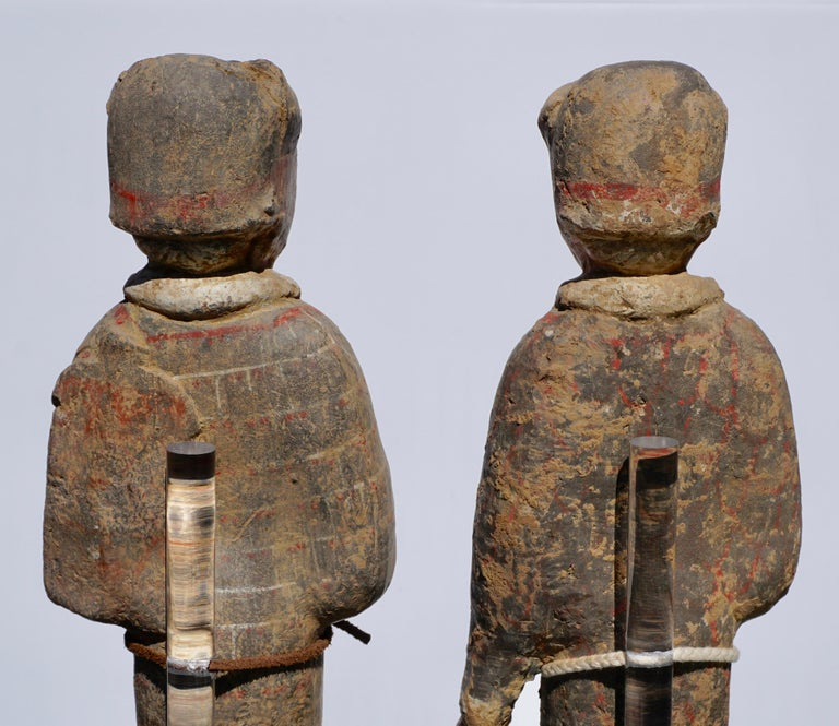 Large Pair of Han Dynasty Guardsmen Warriors '200BC-200AD' Attributed For Sale 3