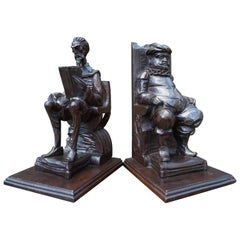 Large Pair of Hand-Carved and Ebonized 1930s Don Quixote & Sancho Panza Bookends