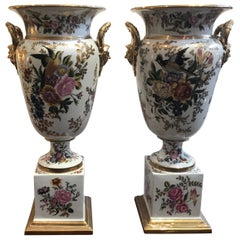 Large Pair of Hand Painted Paris Style Porcelain Urns