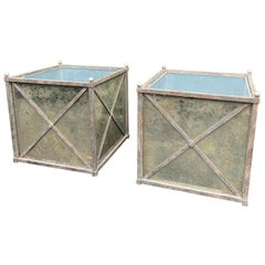 Large Pair of Hollywood Regency Style Iron and Mirror Square Planters