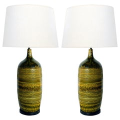 Large Pair of Italian 1960s Geometrically Textured Drip Glaze Ceramic Lamps