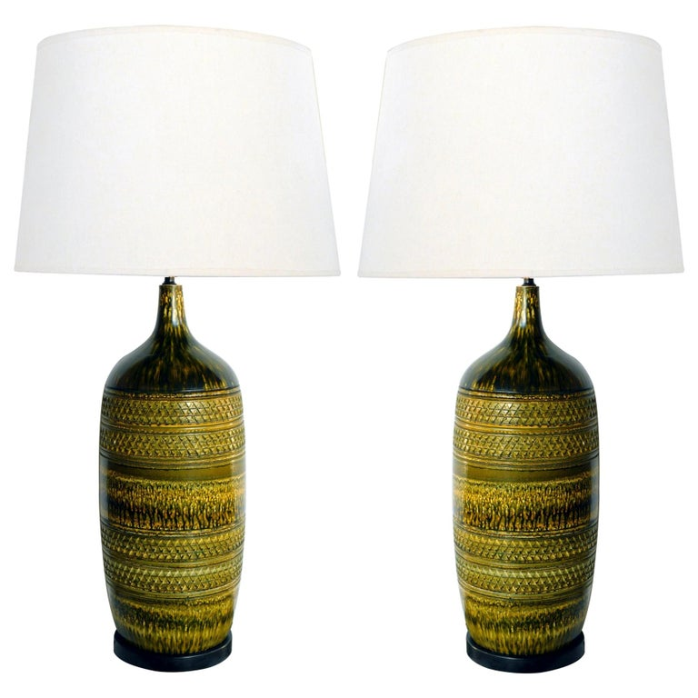 Large Pair of Italian 1960s Geometrically Textured Drip Glaze Ceramic Lamps For Sale