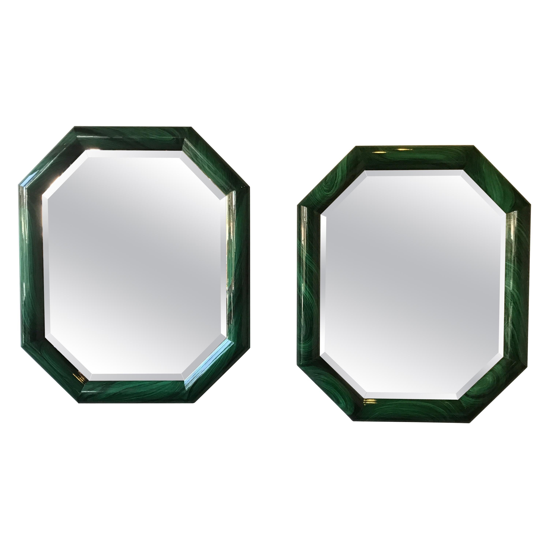 Large Pair of Italian 1970s Faux Malachite Beveled Mirrors