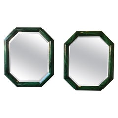 Large Pair of Italian 1970s Faux Malachite Beveled Mirrors