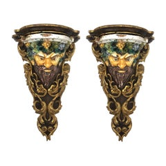 Large Pair of Italian Baroque Style Majolica Bacchus Corbels/Brackets