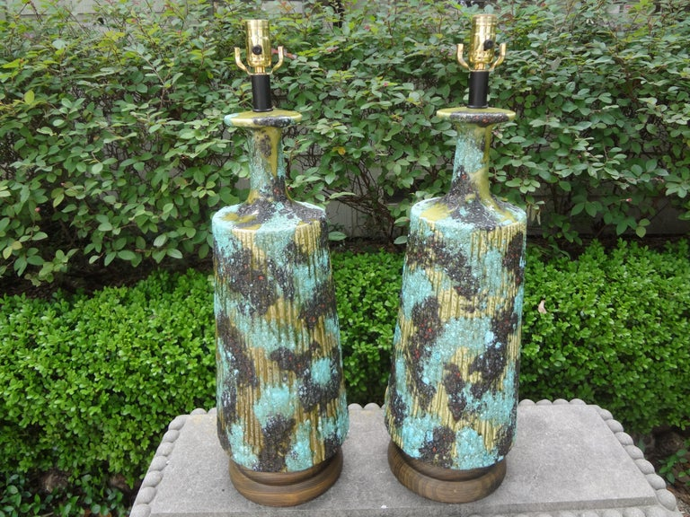 Large Pair of Italian Bitossi Attributed Glazed Ceramic Lamps For Sale 5