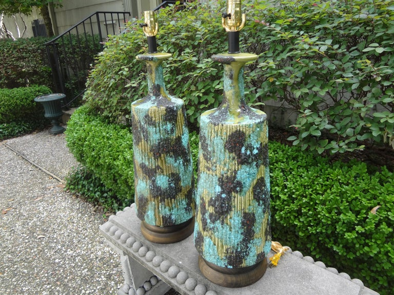 Large Pair of Italian Bitossi Attributed Glazed Ceramic Lamps For Sale 6