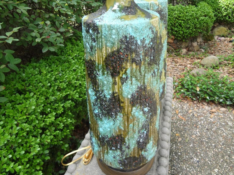 Mid-20th Century Large Pair of Italian Bitossi Attributed Glazed Ceramic Lamps For Sale
