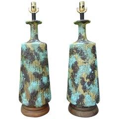 Large Pair of Italian Bitossi Attributed Glazed Ceramic Lamps