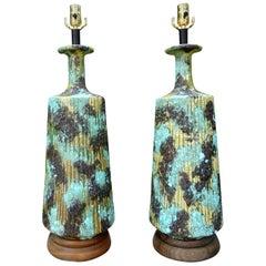 Large Pair of Italian Bitossi Attributed Glazed Ceramic Lamps