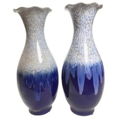 Large Pair of Italian Blue Ceramic Hand Painted Vases