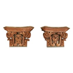Pair of Carved Italian Capitals / Console Tables / Bedside Tables / Side Tables